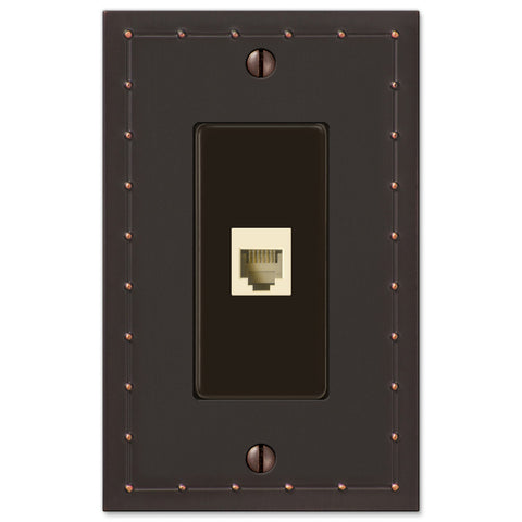 Rosa Aged Bronze Cast - 1 Phone Jack Wallplate - Wallplate Warehouse