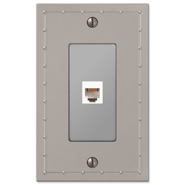 Rosa Satin Nickel Cast - 1 Phone Jack Wallplate - Wallplate Warehouse