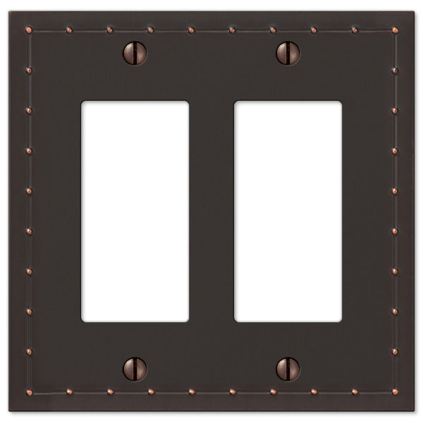 Rosa Aged Bronze Cast - 2 Rocker Wallplate - Wallplate Warehouse