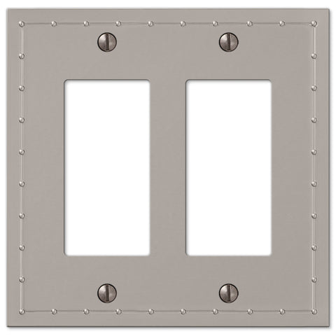 Rosa Satin Nickel Cast - 2 Rocker Wallplate - Wallplate Warehouse