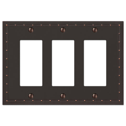 Rosa Aged Bronze Cast - 3 Rocker Wallplate - Wallplate Warehouse