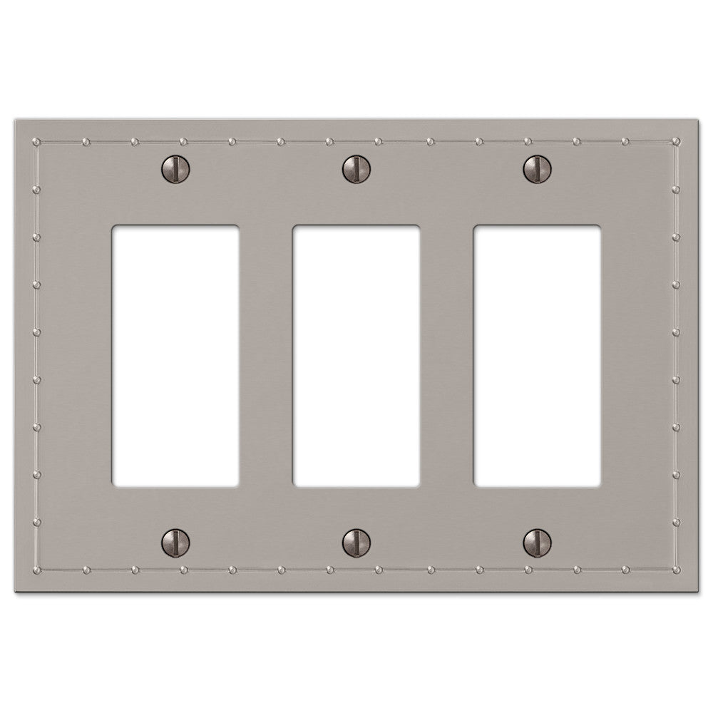Rosa Satin Nickel Cast - 3 Rocker Wallplate - Wallplate Warehouse