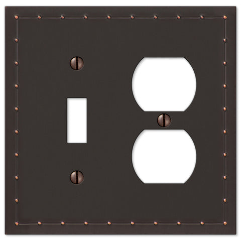 Rosa Aged Bronze Cast - 1 Toggle / 1 Duplex Outlet Wallplate - Wallplate Warehouse