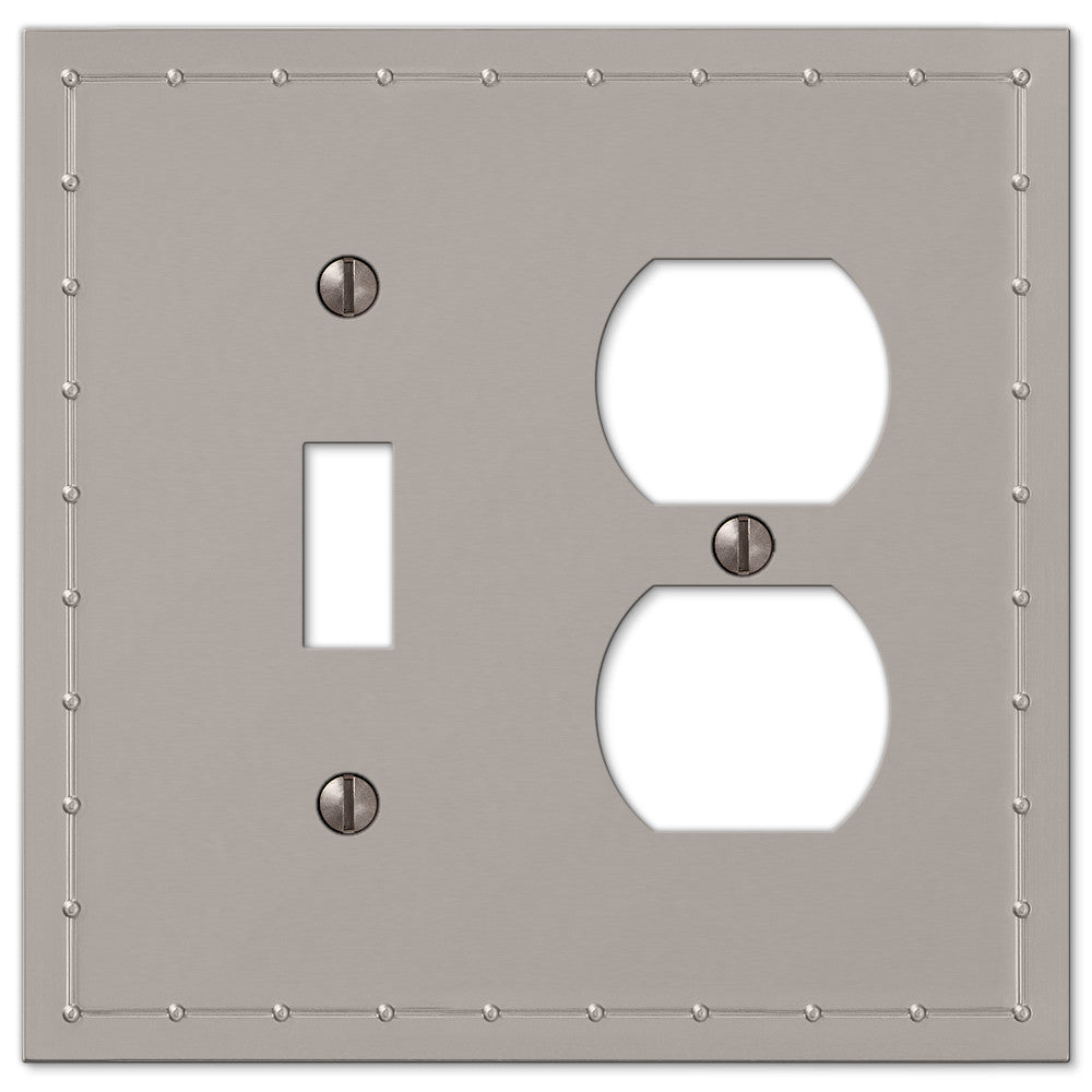Rosa Satin Nickel Cast - 1 Toggle / 1 Duplex Outlet Wallplate - Wallplate Warehouse