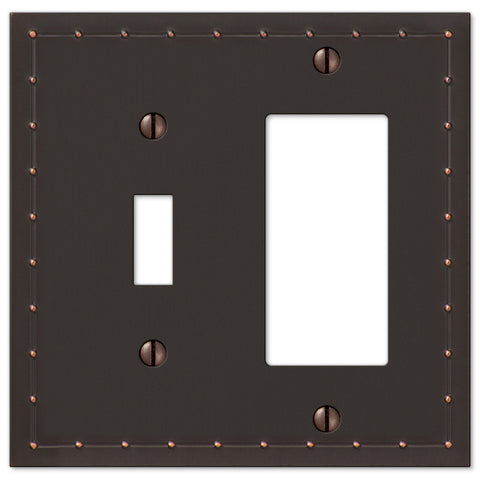 Rosa Aged Bronze Cast - 1 Toggle / 1 Rocker Wallplate - Wallplate Warehouse
