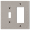Rosa Satin Nickel Cast - 1 Toggle / 1 Rocker Wallplate - Wallplate Warehouse