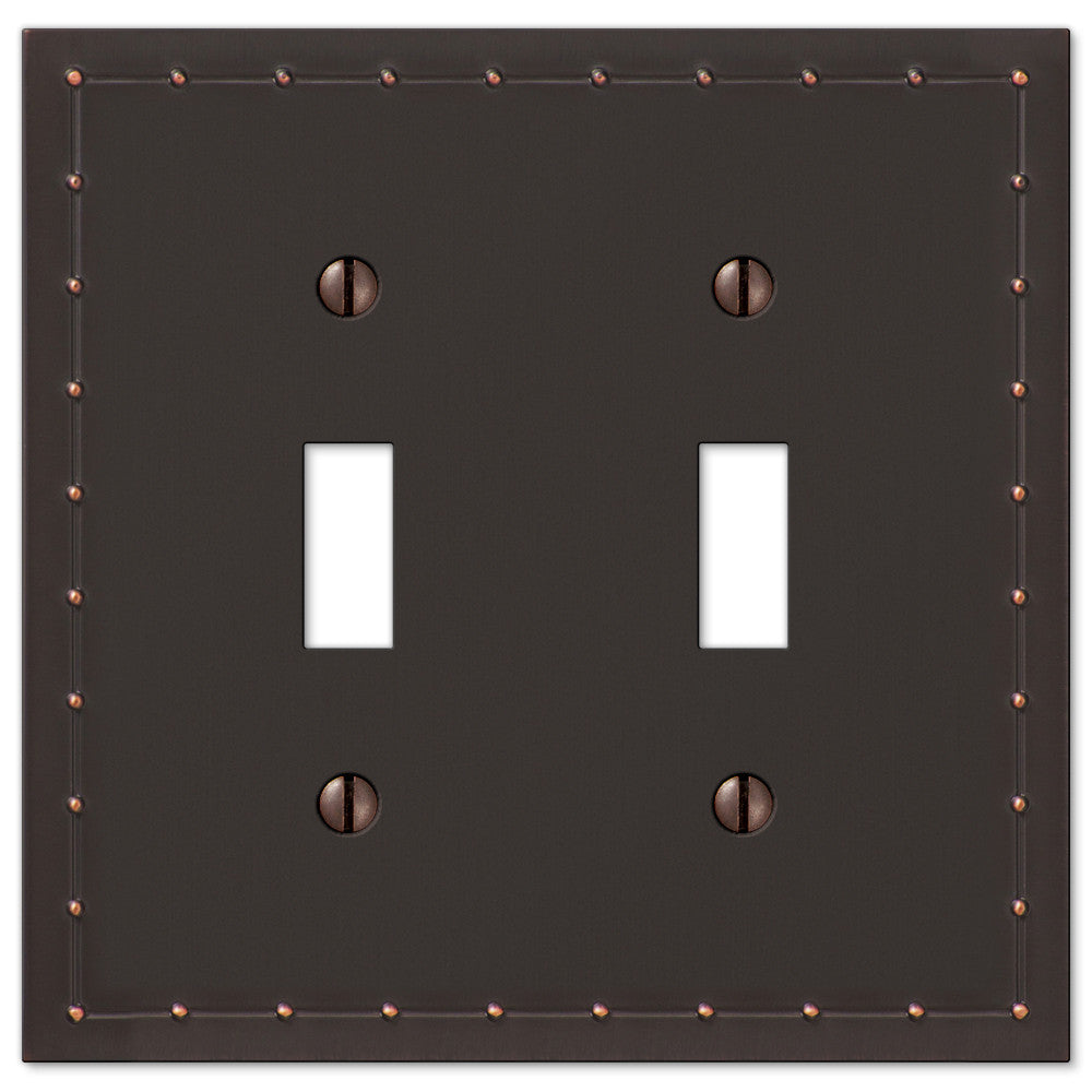 Rosa Aged Bronze Cast - 2 Toggle Wallplate - Wallplate Warehouse