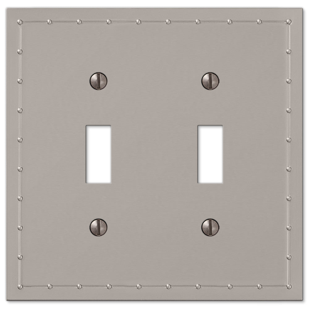 Rosa Satin Nickel Cast - 2 Toggle Wallplate - Wallplate Warehouse