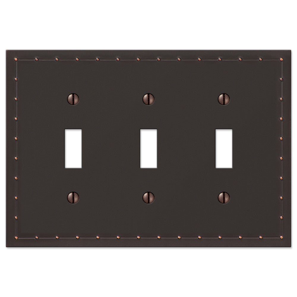 Rosa Aged Bronze Cast - 3 Toggle Wallplate - Wallplate Warehouse