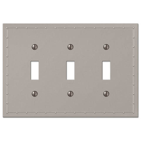 Rosa Satin Nickel Cast - 3 Toggle Wallplate - Wallplate Warehouse