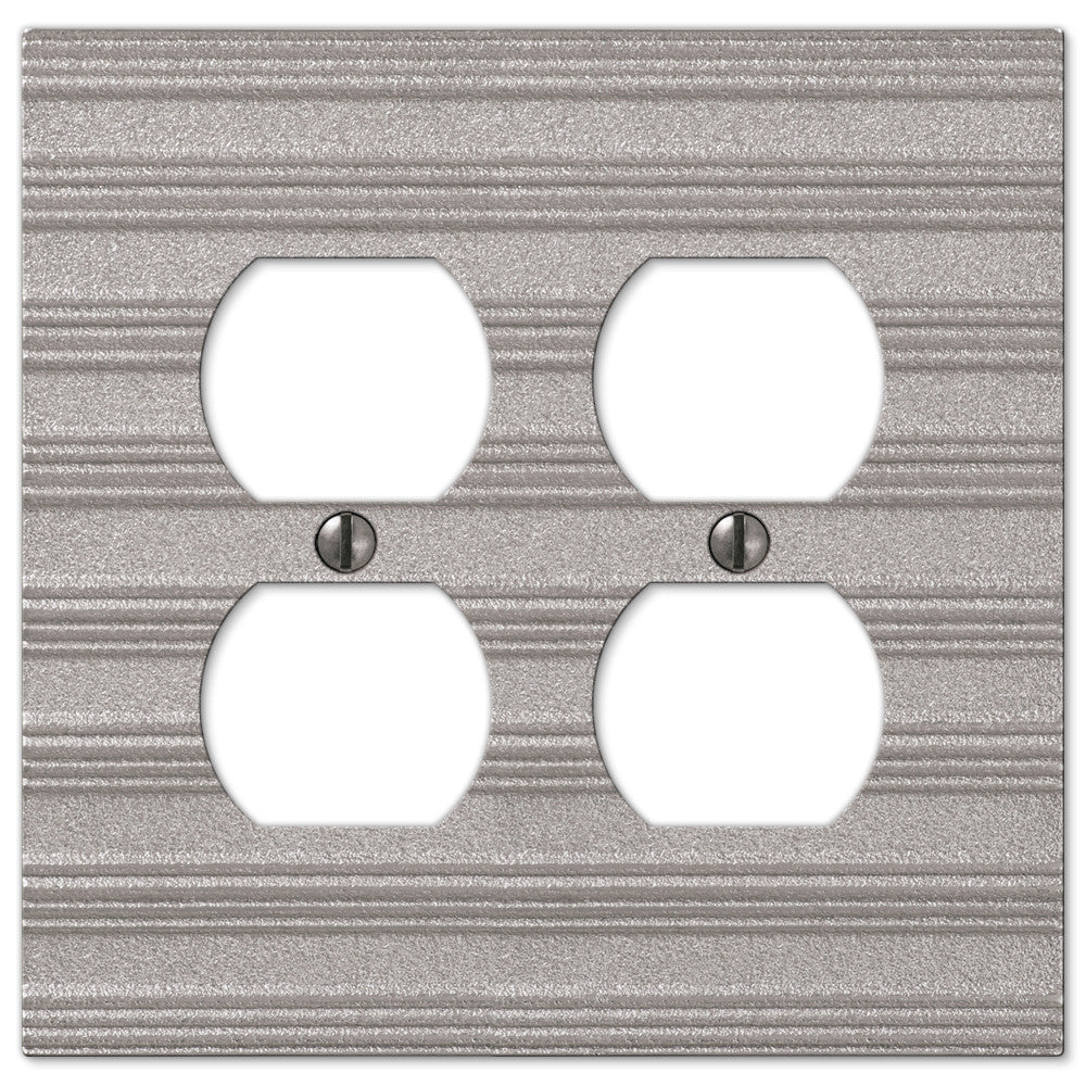 Chemal Frost Nickel Cast - 2 Duplex Outlet Wallplate - Wallplate Warehouse