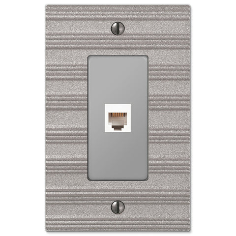 Chemal Frost Nickel Cast - 1 Phone Jack Wallplate - Wallplate Warehouse