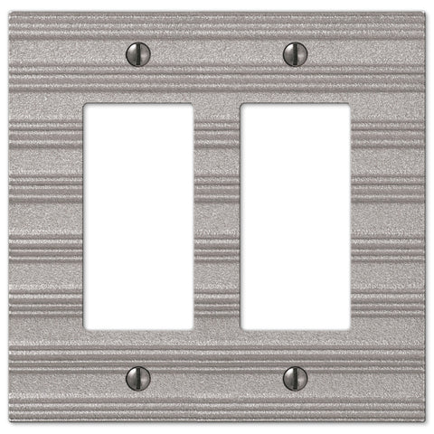 Chemal Frost Nickel Cast - 2 Rocker Wallplate - Wallplate Warehouse