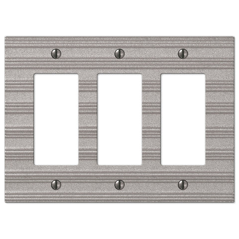 Chemal Frost Nickel Cast - 3 Rocker Wallplate - Wallplate Warehouse