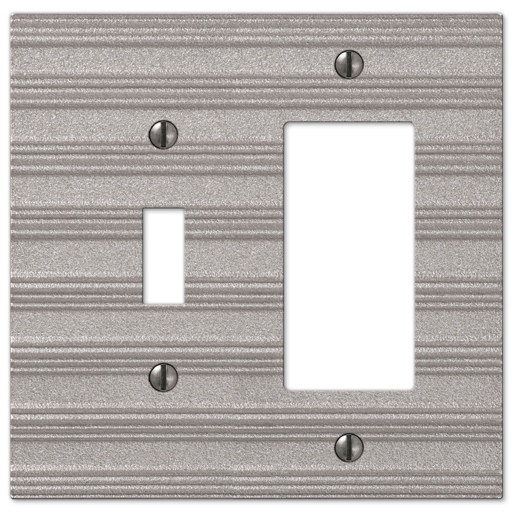 Chemal Frost Nickel Cast - 1 Toggle / 1 Rocker Wallplate - Wallplate Warehouse