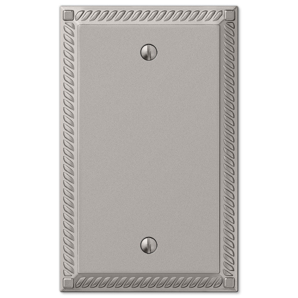 Georgian Satin Nickel Cast - 1 Blank Wallplate - Wallplate Warehouse