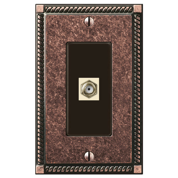 Georgian Tumbled Aged Bronze Cast - 1 Cable Jack Wallplate