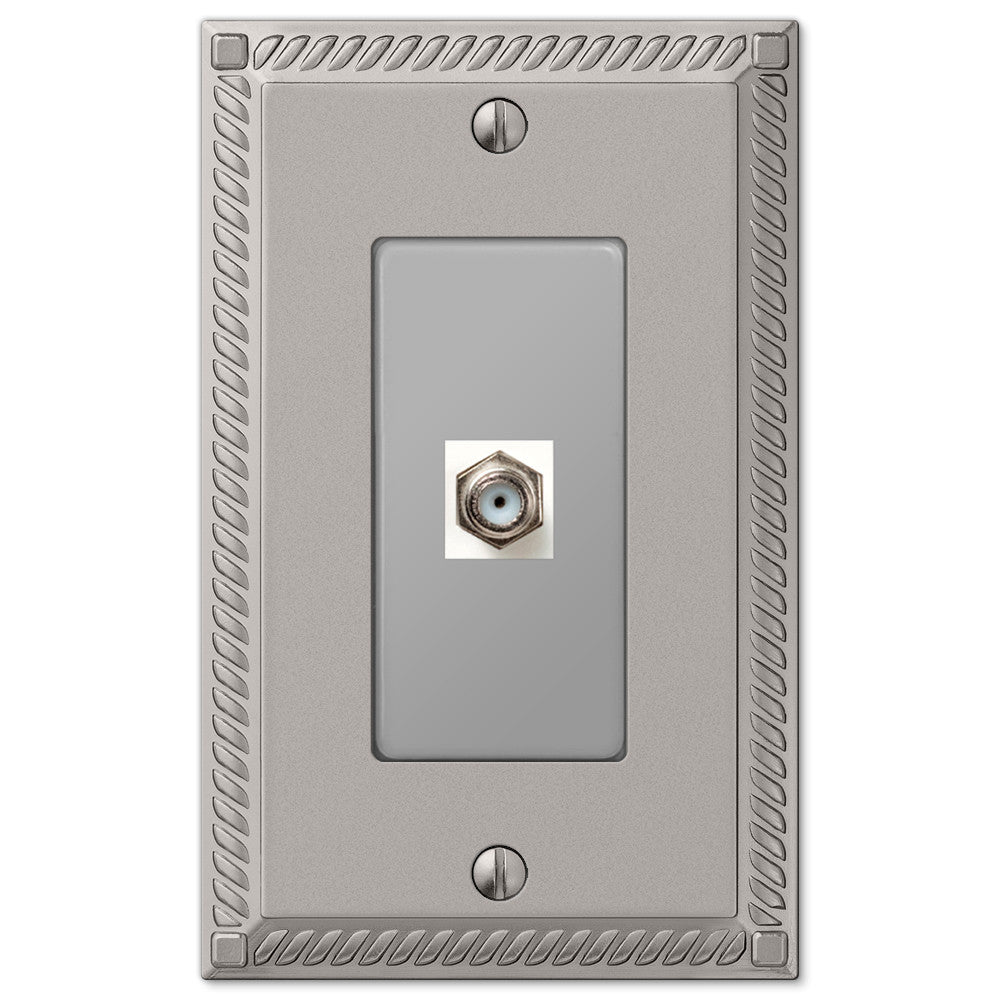 Georgian Satin Nickel Cast - 1 Cable Jack Wallplate - Wallplate Warehouse