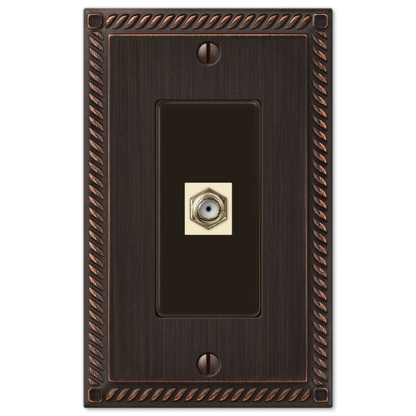 Georgian Aged Bronze Cast - 1 Cable Jack Wallplate - Wallplate Warehouse