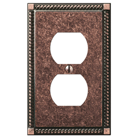 Georgian Tumbled Aged Bronze Cast - 1 Duplex Outlet Wallplate