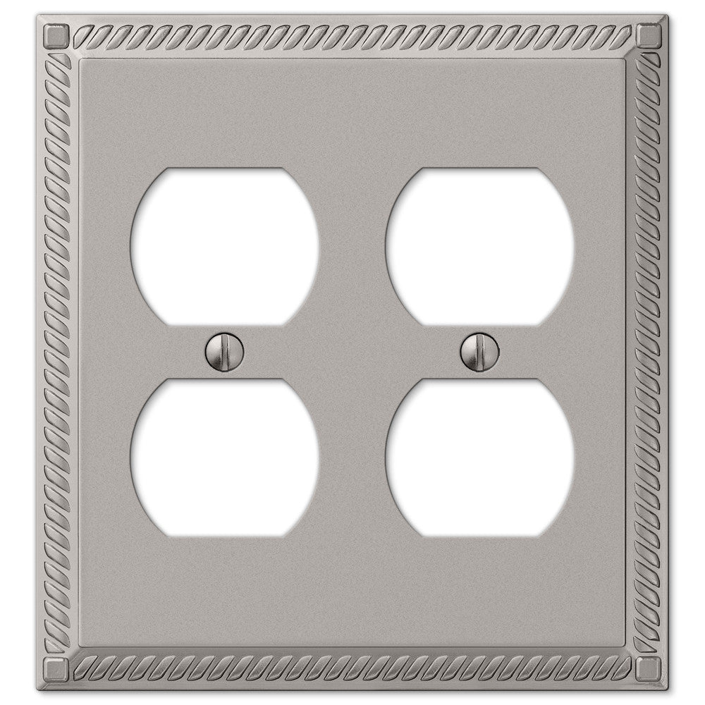 Georgian Satin Nickel Cast - 2 Duplex Outlet Wallplate - Wallplate Warehouse