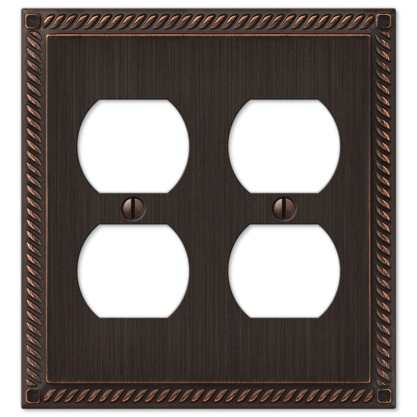 Georgian Aged Bronze Cast - 2 Duplex Outlet Wallplate - Wallplate Warehouse