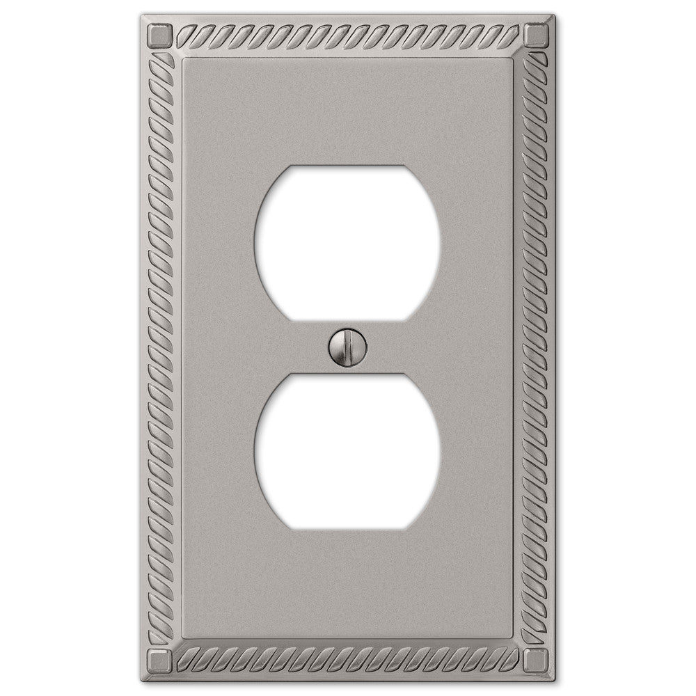 Georgian Satin Nickel Cast - 1 Duplex Outlet Wallplate - Wallplate Warehouse