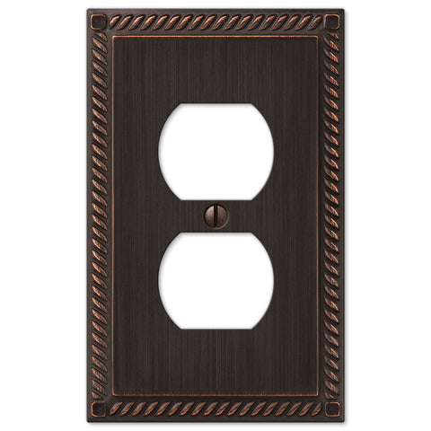 Georgian Aged Bronze Cast - 1 Duplex Outlet Wallplate - Wallplate Warehouse
