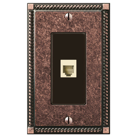 Georgian Tumbled Aged Bronze Cast - 1 Phone Jack Wallplate