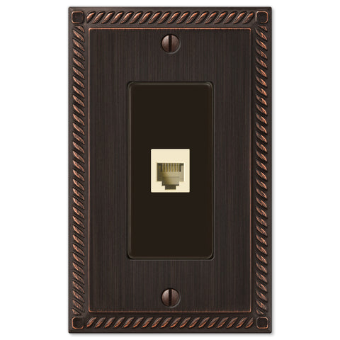 Georgian Aged Bronze Cast - 1 Phone Jack Wallplate - Wallplate Warehouse