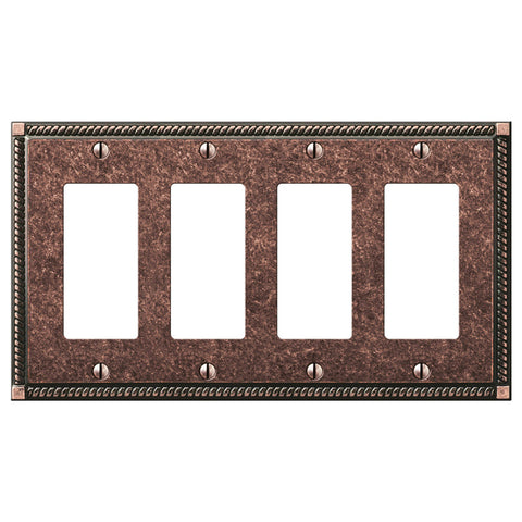 Georgian Tumbled Aged Bronze Cast - 4 Rocker Wallplate