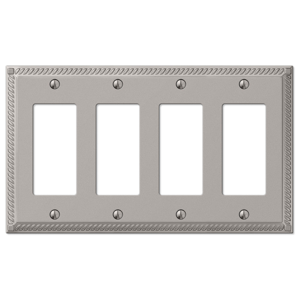 Georgian Satin Nickel Cast - 4 Rocker Wallplate - Wallplate Warehouse