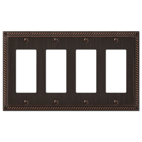 Georgian Aged Bronze Cast - 4 Rocker Wallplate - Wallplate Warehouse