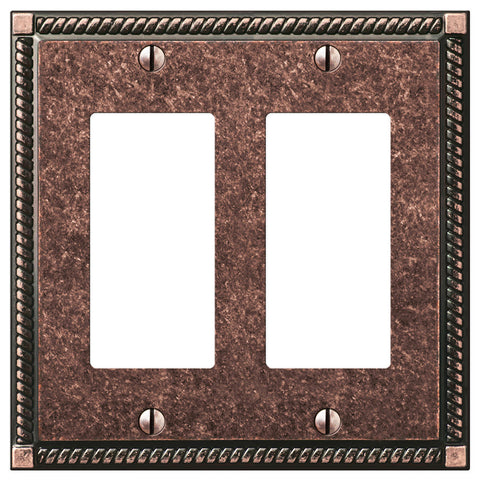 Georgian Tumbled Aged Bronze Cast - 2 Rocker Wallplate