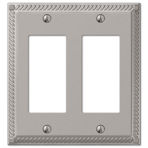 Georgian Satin Nickel Cast - 2 Rocker Wallplate - Wallplate Warehouse