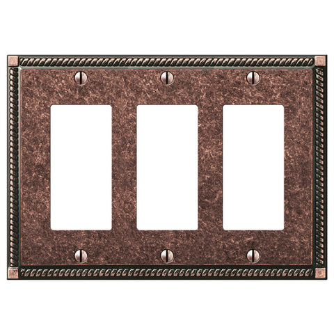 Georgian Tumbled Aged Bronze Cast - 3 Rocker Wallplate