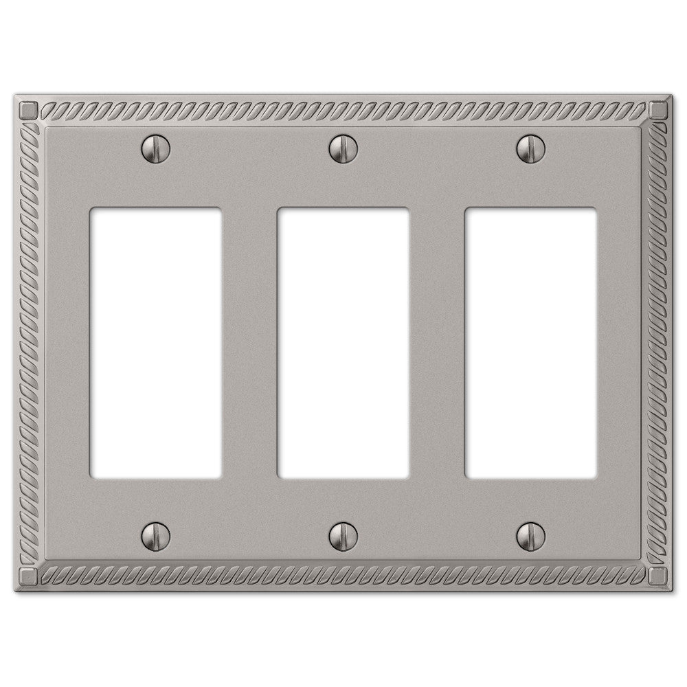 Georgian Satin Nickel Cast - 3 Rocker Wallplate - Wallplate Warehouse