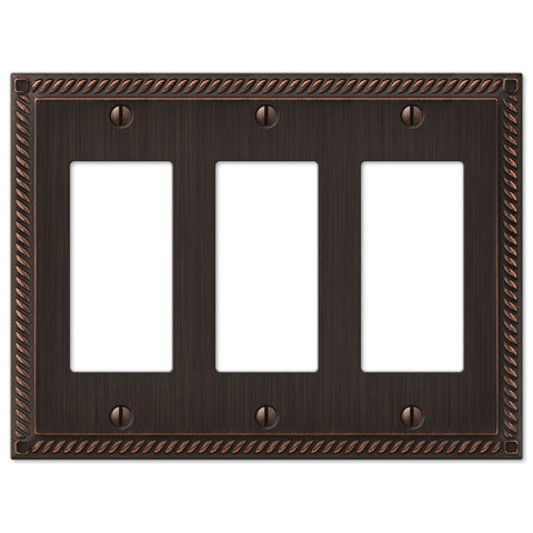 Georgian Aged Bronze Cast - 3 Rocker Wallplate - Wallplate Warehouse