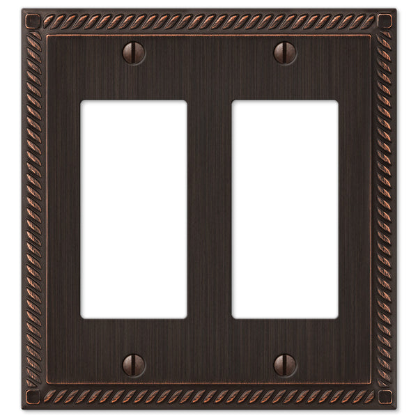 Georgian Aged Bronze Cast - 2 Rocker Wallplate - Wallplate Warehouse