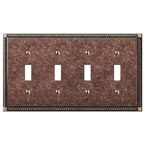 Georgian Tumbled Aged Bronze Cast - 4 Toggle Wallplate