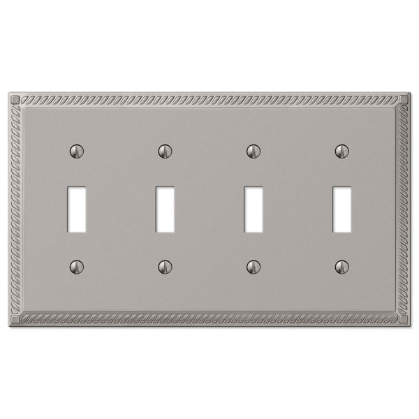 Georgian Satin Nickel Cast - 4 Toggle Wallplate - Wallplate Warehouse