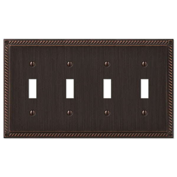 Georgian Aged Bronze Cast - 4 Toggle Wallplate - Wallplate Warehouse