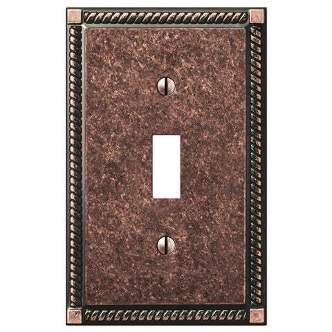 Georgian Tumbled Aged Bronze Cast - 1 Toggle Wallplate