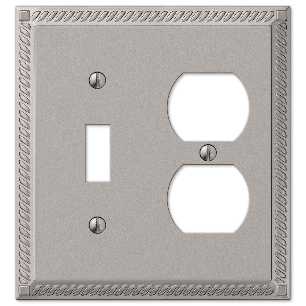 Georgian Satin Nickel Cast - 1 Toggle / 1 Duplex Outlet Wallplate - Wallplate Warehouse