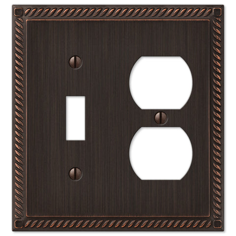 Georgian Aged Bronze Cast - 1 Toggle / 1 Duplex Outlet Wallplate - Wallplate Warehouse
