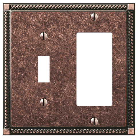 Georgian Tumbled Aged Bronze Cast - 1 Toggle / 1 Rocker Wallplate