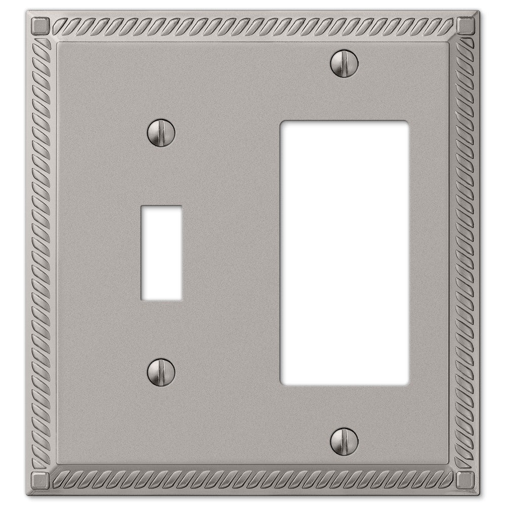 Georgian Satin Nickel Cast - 1 Toggle / 1 Rocker Wallplate - Wallplate Warehouse