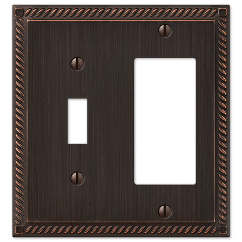 Georgian Aged Bronze Cast - 1 Toggle / 1 Rocker Wallplate - Wallplate Warehouse