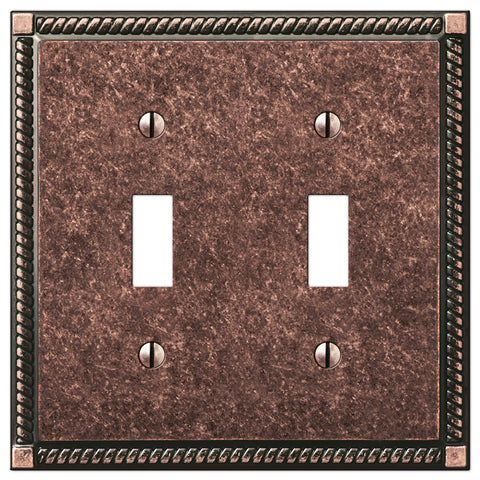Georgian Tumbled Aged Bronze Cast - 2 Toggle Wallplate