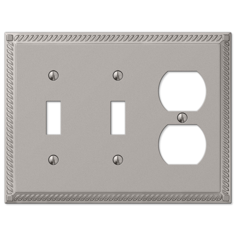 Georgian Satin Nickel Cast - 2 Toggle / 1 Duplex Outlet Wallplate - Wallplate Warehouse